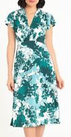 Maggy London Womens Dress Green Size 10 A-Line Jersey Floral Print $118- 262