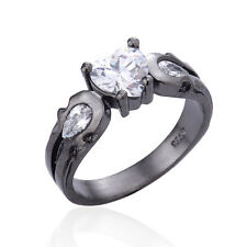 Fashion Women 925 Silver Black Gold Filled Heart White Topaz Ring Jewelry Size 9
