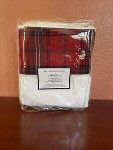 Williams Sonoma Home Tartan Plaid Cuff California King Sheet Set New