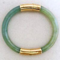 Vintage Chinese Natural Jade Stone Green Jadeite Bracelet Bangle 2.24-2.60 Inch Fine Jewelry Gemstone