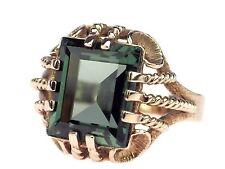 Art Deco solitario señora 8 K 333 Rose oro verde turmalina anillo Antik