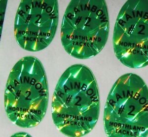 #2 Holographic Northland Tackle Replacement Green Decals-Lot of 147 D6