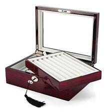 72 CUFFLINK CASE RING STORAGE BOX CUFF LINKS MENS JEWELRY WOOD DISPLAY 412172