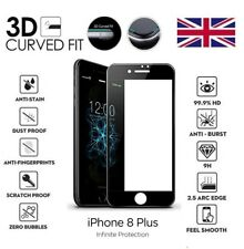 For iPhone 8 Plus 3D Curved Full Cover Screen Protector Tempered Glass Black