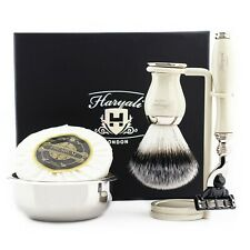 Men's Grooming Shaving Kit with Manual Safety Razor & Barber Brush Ivory Color