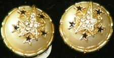 GOLDTONE Vntg ROUND Dome EARRINGS w.PEARL & Rhinestone CLIP 226 Retail $18 1981