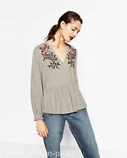 ZARA GREY BLOUSE TOP WITH FLORAL EMBROIDERY SIZE S UK 8 -10 REF 6189/224 BNWT