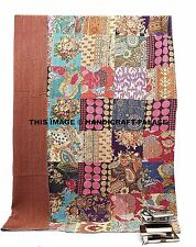 Indian Handmade Patch Work Single size Ralli Kantha Quilt Bedspread Blanket