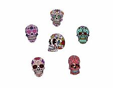 25 X 25mm Mezclado Botones Madera cráneo (Halloween, Día de los muertos Estilo Mexicano)