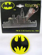 Vtg New Batman Gotham City Silver Skyline & Batman Logo Pins DC Comics 1964 Pin