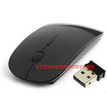 MOUSE NERO WIRELESS ULTRA PIATTO USB SENZA FILI WIFI DA PC PORTATILE MAC 2.4 GHz