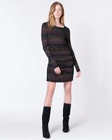 VERONICA BEARD Daphne Striped Metallic Long-Sleeve Dress SIZE L ~NEW YEARS!~