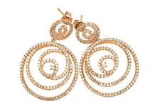CZ earrings 14k Rose Gold over Sterling Round Spirals Post Studs Cubic Zirconia