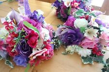 Wedding table flower low centrepieces x 8 in purples & pinks flowers - Unused