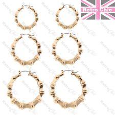 3prs BAMBOO HOOP EARRINGS small/medium/large hoops GOLD/SILVER TONE 3cm/5cm/6cm