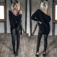 Womens Long Sleeve Knitted Jumper Loose Sweater Knitwear Pullover Tops Blouse