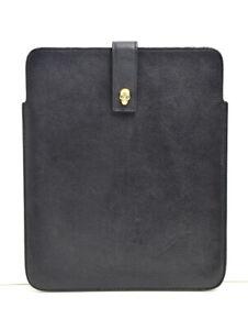 Alexander McQueen Skull Embellished Leather iPad Case Sleeve Black