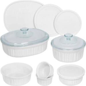 Corningware French White 12-Piece Round and Oval Bakeware Set