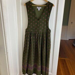 Karen Scott Fine Wale Corduroy Jumper Dress Olive Green Cottage Core Modest Med