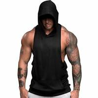 Men's Fitness Gym Solids Bodybuilding Workout Muscle Sleeveless Hoodies Tank Top