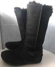 """FitFlop """"Mukluk"""" Tall Warmlined Shearling Sheepskin Boots Black # Size UK 4"""