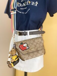 NWT Coach x Peanuts Karlee Crossbody in Signature Canvas w/ Snoopy Patch Purse