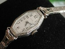 Ladies Art Deco 14K Hamilton Watch ~Sapphire Filigree Band ~Runs