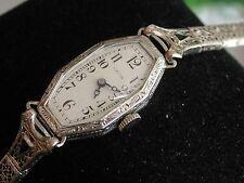 Ladies Art Deco 14K Hamilton Watch ~Sapphire Filigree Band ~Runs