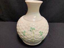 "Belleek Shamrock Basket Weave Vase ~ 7 1/2"" Tall"