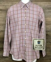 Peter Millar Crown Mens Multi-Color Plaid Cotton Long Sleeve Button Down Shirt M