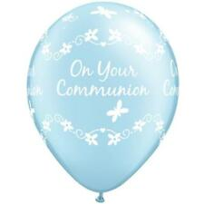 "10 x On Your Communion Butterflies Pearl Light Blue Qualatex 11"" Latex Balloons"