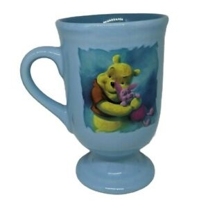 Walt Disney Winnie The Pooh And Piglet Footed Mug Very Rare Collectable Blue