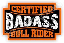 Badass BULL RIDER Rodeo Helmet Sticker | Motorcycle Safety Hard Hat Decal
