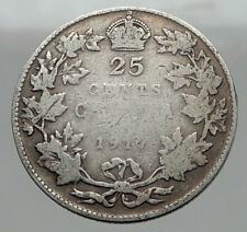 1917 CANADA - UK King George V - Authentic Original SILVER 25 CENTS Coin i62961