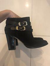 Jimmy Choo London Black Leather Chukka Heel Wraparound Strap Buckle Boots SZ 36