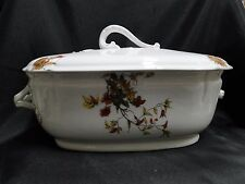 """Schwalb Brothers (BSM), Coral Flowers on White: Tureen w/ Lid, 11 1/8"""" x 7 1/2"""""""