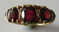 Vintage 9ct Yellow Gold 7 Stone Garnet Half Band Ring Size J