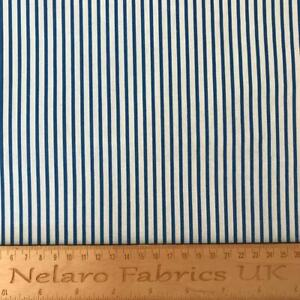Large Stripe white/royal blue fabric by John Louden - CLEARANCE!