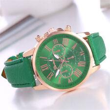 Geneva Damen Uhr Roman Numerals Armbanduhr Analog Leder Band Quarz Wrist Watch