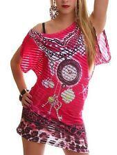 Sexy Femmes Strass Long Shirt Asymétrique Transparent Bandes 34/36/38 Rose