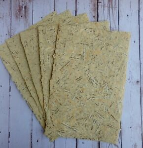 6 Sheets of Handmade Paper - 8.5 in x 5.5 in - charming, vintage, antique look!