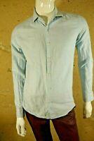 REISS SLIM FIT Taille M Superbe chemise manches longues bleu clair homme shirt
