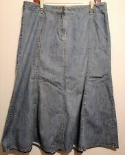 Austin Reed panelled blue denim ankle length flare Skirt UK Size 16