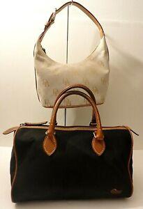 Dooney & Bourke Lot of 2 Leather Trim Satchel Hobo Weekend Shoulder Purse Bags