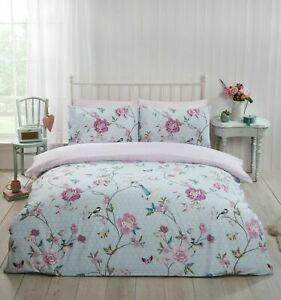 Bedding Heaven® Reversible Floral Duvet Cover Set Flowers and Birds, Tranquility