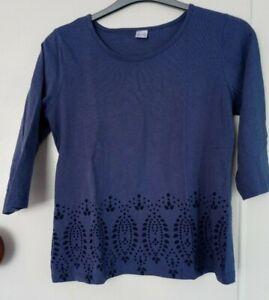 blue print t-shirt top size 12