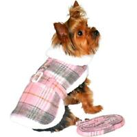 Doggie Design Pink & White Plaid Wool  Dog Coat & Matching Leash XS-2XL