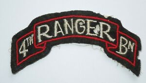 WWII US Army 4th Ranger Battalion Wool Scroll Patch