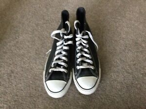 Converse All Star Black Leather Hi Top Size 7