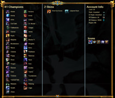 League of Legends Account NA Unranked 41 Champions 58000 BE Judgment Kayle